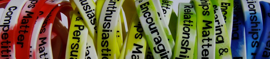 Wrist bands showing personality types.